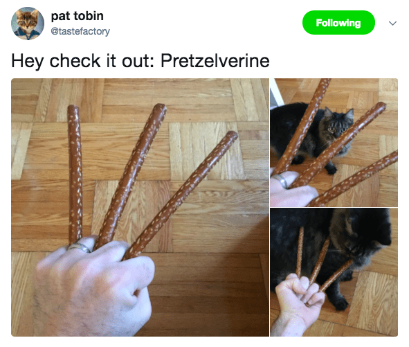 Product - pat tobin @tastefactory Following Hey check it out: Pretzelverine