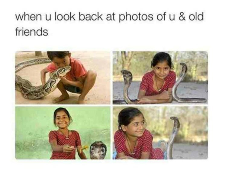 Text - when u look back at photos of u & old friends