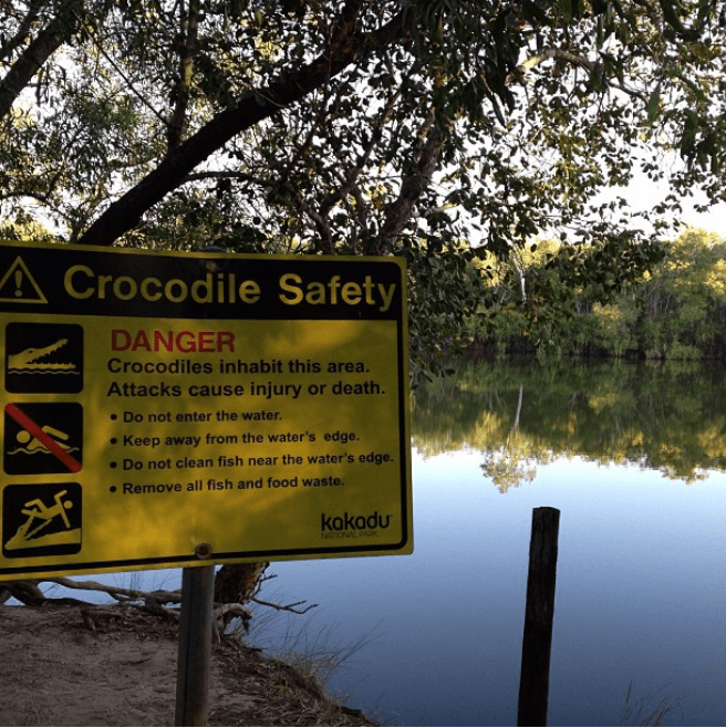 Nature reserve - Crocodile Safety DANGER Crocodiles inhabit this area. Attacks cause injury or death. Do not enter the water. Keep away from the water's edge. Do not clean fish near the water's edge. .Remove all fish and food waste. kakadu