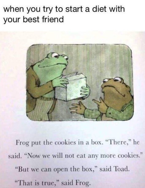 """Text - when you try to start a diet with your best friend Frog put the cookies in a box. """"There,"""" he said. """"Now we will not eat any more cookies."""" """"But we can open the box,"""" said Toad. """"That is true,"""" said Frog."""