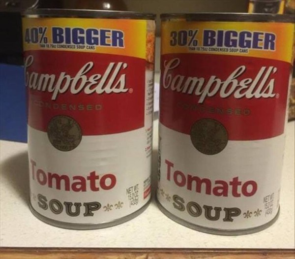 Tin can - 40% BIGGER 30% BIGGER CONDNSE P CANS 752 CONDENSED SOUP CANS mpbellaumpbella NDENSED omato SOUP Tomato NET SOUP* ET