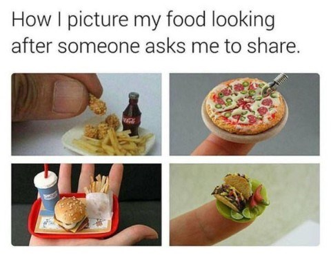 Junk food - How I picture my food looking after someone asks me to share.