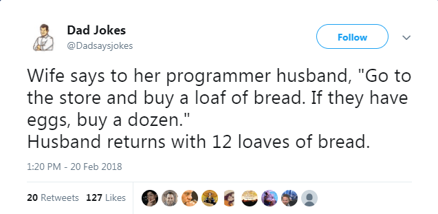 """Text - Dad Jokes Follow @Dadsaysjokes Wife says to her programmer husband, """"Go to the store and buy a loaf of bread. If they have eggs, buy a dozen."""" Husband returns with 12 loaves of bread. 1:20 PM - 20 Feb 2018 20 Retweets 127 Likes"""