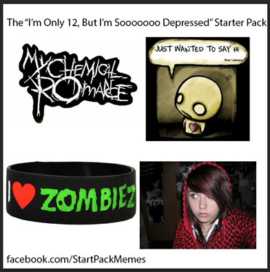 starter pack memes of being only 12 but soooo depressed