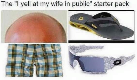 starter pack of man who yells at his wife in public