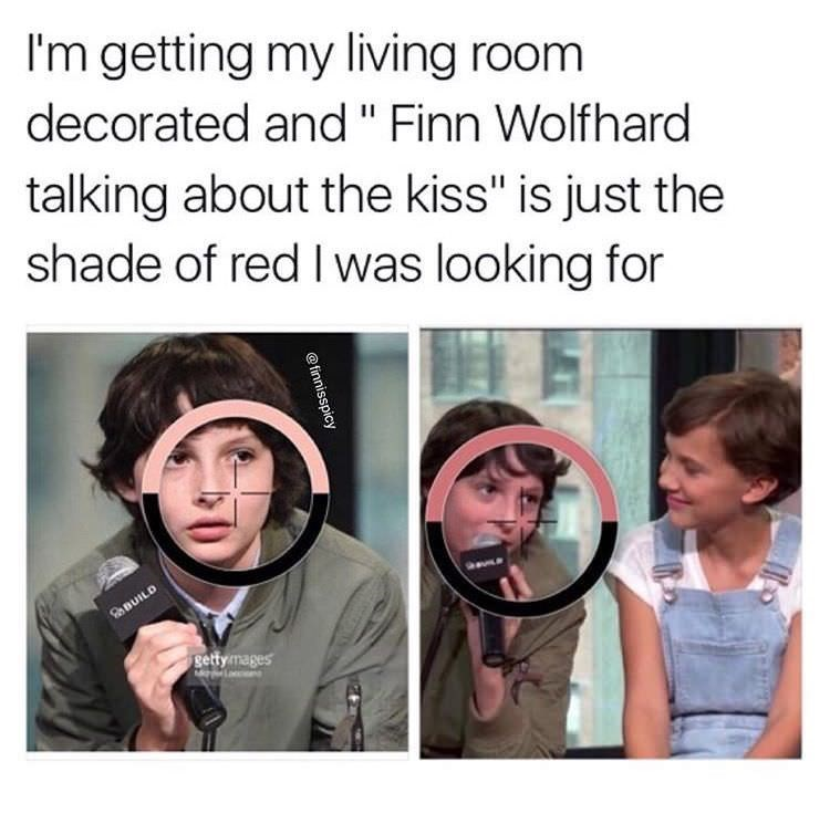 """Face - I'm getting my living room decorated and """" Finn Wolfhard talking about the kiss"""" is just the shade of red I was looking for getty mages @finnisspicy"""