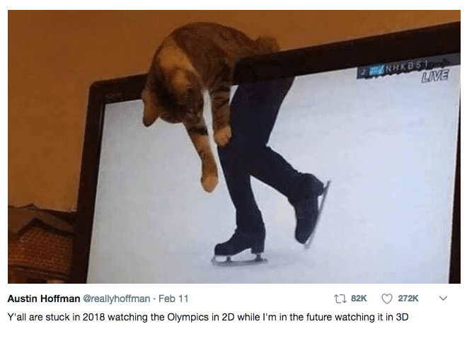 Photo caption - 2 NHKBS LIVE Austin Hoffman @reallyhoffman Feb 11 t82K 272K Y'all are stuck in 2018 watching the Olympics in 2D while I'm in the future watching it in 3D