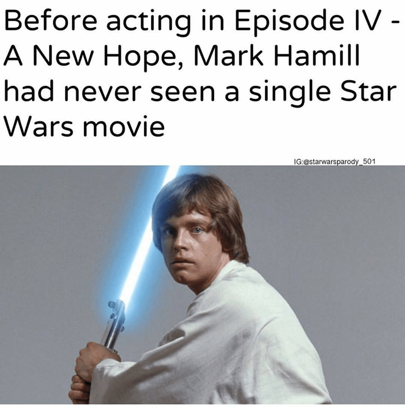 before acting in episode iv mark hamill had never seen a star wars movie