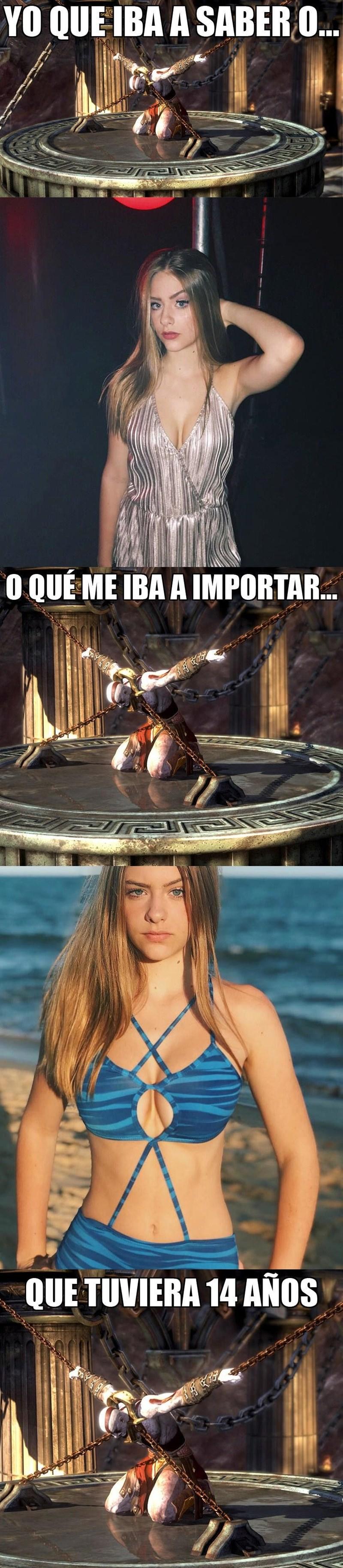 meme de kratos y una menor de edad