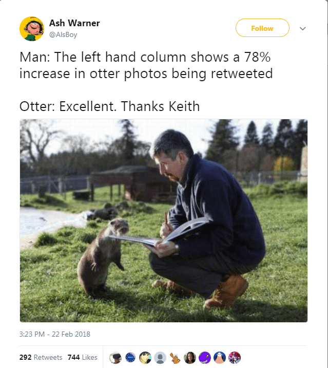 Gopher - Ash Warner Follow @Als Boy Man: The left hand column shows a 78% increase in otter photos being retweeted Otter: Excellent. Thanks Keith 3:23 PM - 22 Feb 2018 292 Retweets 744 Likes