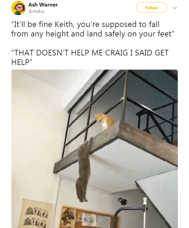 """Ceiling - Ash Warner Follow @AlsBoy """"It'll be fine Keith, you're supposed to fall from any height and land safely on your feet"""" """"THAT DOESN'T HELP ME CRAIG I SAID GET HELP"""""""