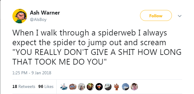 """Text - Ash Warner Follow @AlsBoy When I walk through a spiderweb I always expect the spider to jump out and scream """"YOU REALLY DON'T GIVE A SHIT HOW LONG THAT TOOK ME DO YOU"""" 1:25 PM - 9 Jan 2018 18 Retweets 96 Likes"""
