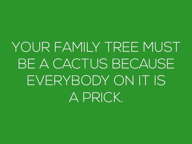 Green - YOUR FAMILY TREE MUST BE A CACTUS BECAUSE EVERYBODY ON IT IS A PRICK