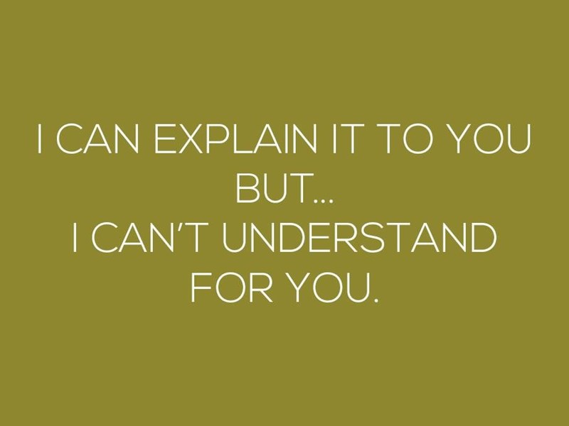 Text - I CAN EXPLAIN IT TO YOU BUT... I CAN'T UNDERSTAND FOR YOU.