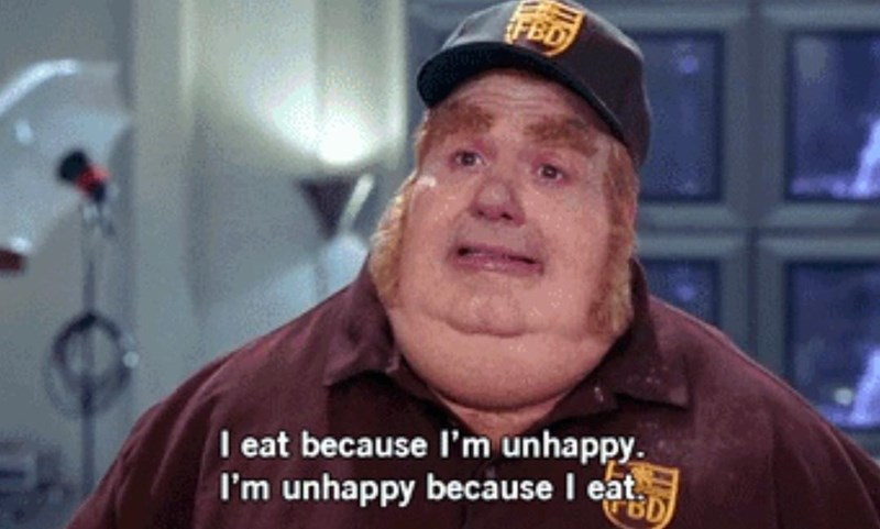 Funny meme about fatb bastard eating because he is unhappy, unhappy because he eats.