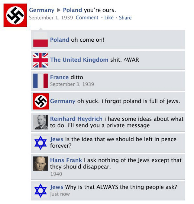 Text - Germany Poland you're ours. September 1, 1939 Comment Like Share Poland oh come on! The United Kingdom shit. AWAR France ditto September 3, 1939 Germany oh yuck. i forgot poland is full of jews. Reinhard Heydrich i have some ideas about what to do. i'll send you a private message Jews Is the idea that we should be left in peace forever? Hans Frank I ask nothing of the Jews except that they should disappear. 1940 Jews Why is that ALWAYS the thing people ask? Just now
