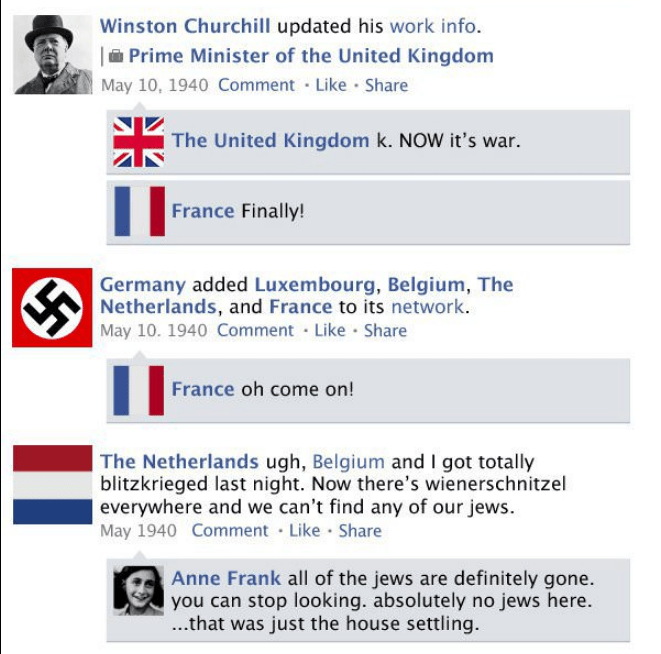 Text - Winston Churchill updated his work info. Prime Minister of the United Kingdom May 10, 1940 Comment Like Share The United Kingdom k. NOW it's war. France Finally! Germany added Luxembourg, Belgium, The Netherlands, and France to its network. May 10. 1940 Comment Like Share France oh come on! The Netherlands ugh, Belgium and I got totally blitzkrieged last night. Now there's wienerschnitzel  everywhere and we can't find any of our jews May 1940 Comment Like Share Anne Frank all of the jews