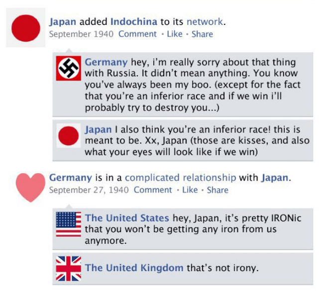 Text - Japan added Indochina to its network. September 1940 Comment Like Share Germany hey, i'm really sorry about that thing with Russia. It didn't mean anything. You know you've always been my boo. (except for the fact that you're an inferior race and if we win i'll probably try to destroy you...) Japan I also think you're an inferior race! this is meant to be. Xx, Japan (those are kisses, and also what your eyes will look like if we win) Germany is in a complicated relationship with Japan Sep