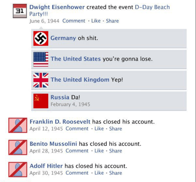 Text - Dwight Eisenhower created the event D-Day Beach 31Party! June 6, 1944 Comment Like Share Germany oh shit. The United States you're gonna lose The United Kingdom Yep! Russia Da! February 4, 1945 Franklin D. Roosevelt has closed his account. April 12, 1945 Comment Like Share Benito Mussolini has closed his account April 28, 1945 Comment Like Share Adolf Hitler has closed his account April 30, 1945 Comment Like Share