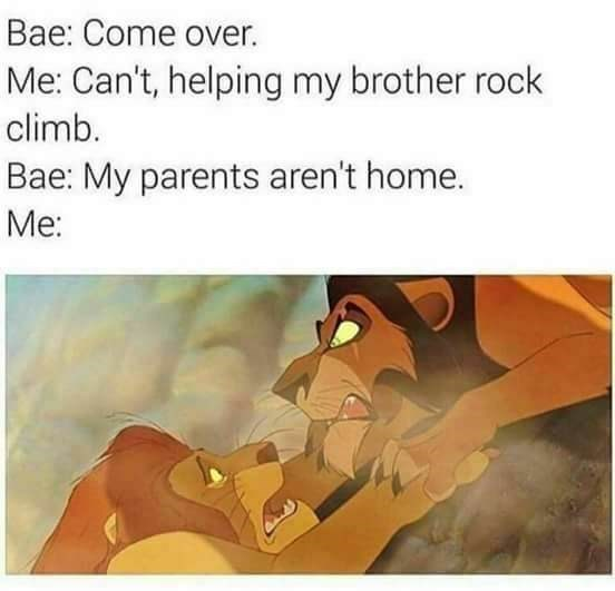 Text - Bae: Come over. Me: Can't, helping my brother rock climb. Bae: My parents aren't home. Me:
