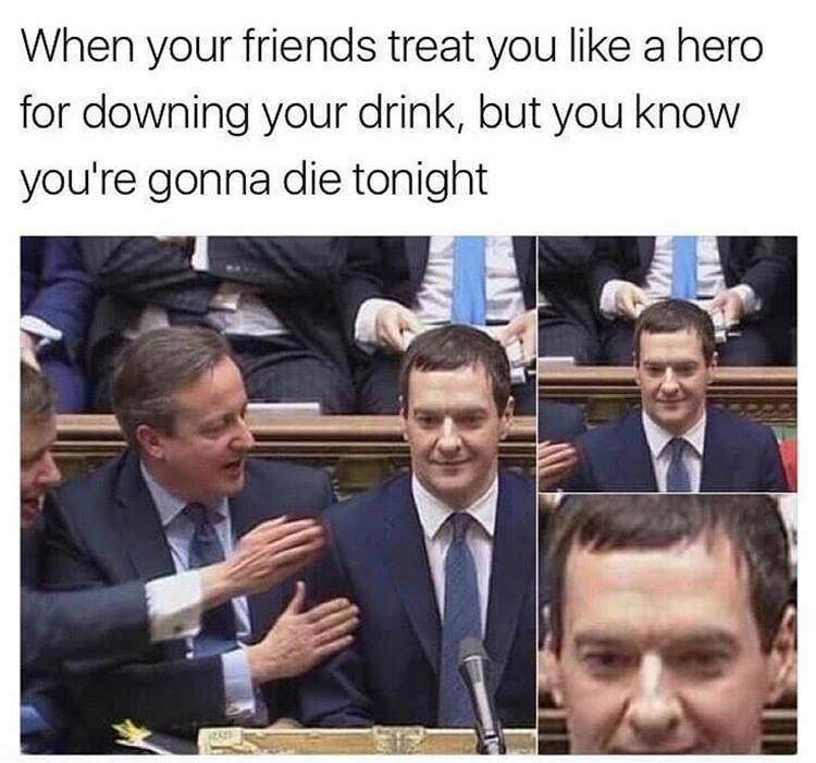 Facial expression - When your friends treat you like a hero for downing your drink, but you know you're gonna die tonight