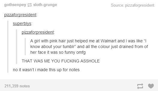 """A girl with pink hair just helped me at Walmart and I was like """" know about your tumblr"""" and all the colour just drained from of her face it was so funny omfg THAT WAS ME YOU FUCKING ASSHOLE no it wasn't i made this up for notes 211,359 notes 11"""
