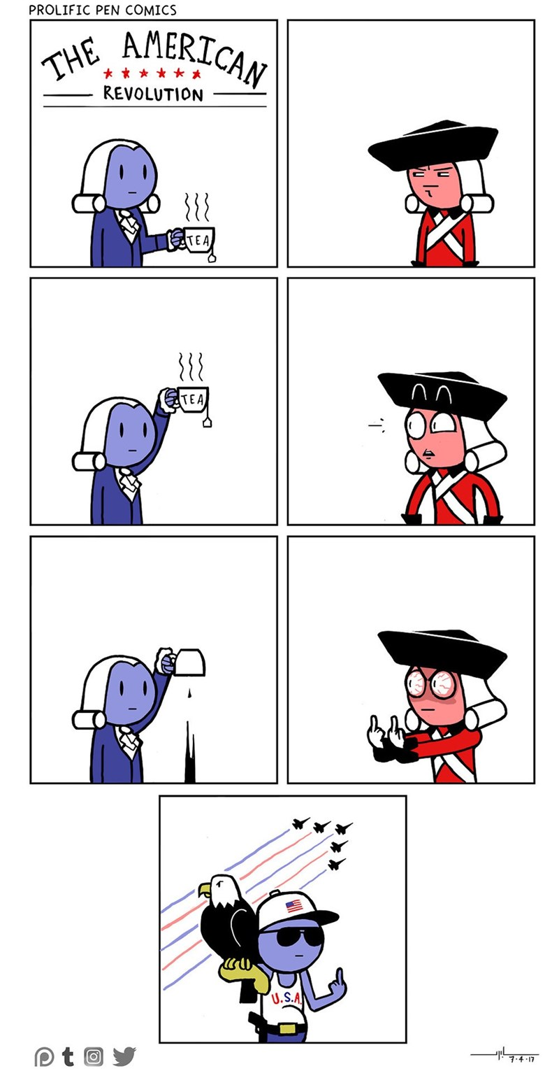 Funny web comic about the american revolution.