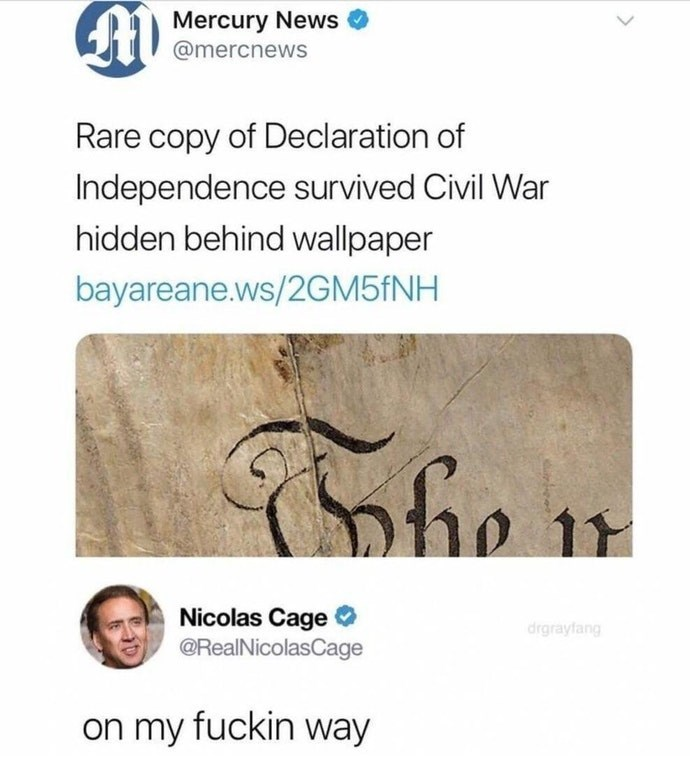 Funny meme about nicolas cage and the declaration of independence.