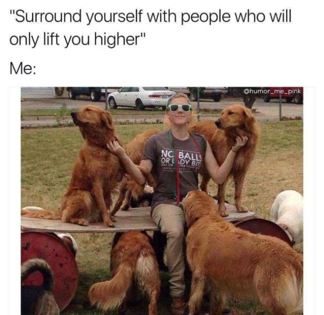 "Dog - ""Surround yourself with people who will only lift you higher"" Me: Ohumor me pink NC BALL OR LDY BIT"