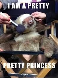 sloth meme sitting in a makeup chair and getting its makeup done