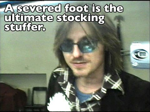 Mitch Hedberg joke about stuffing stockings with feet