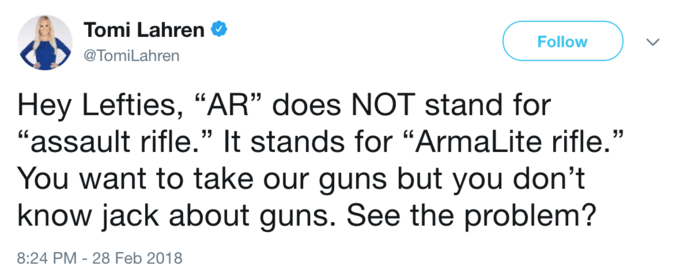 """Text - Tomi Lahren Follow @TomiLahren Hey Lefties, """"AR"""" does NOT stand for """"assault rifle."""" It stands for """"ArmaLite rifle."""" You want to take our guns but you don't know jack about guns. See the problem? 8:24 PM - 28 Feb 2018"""
