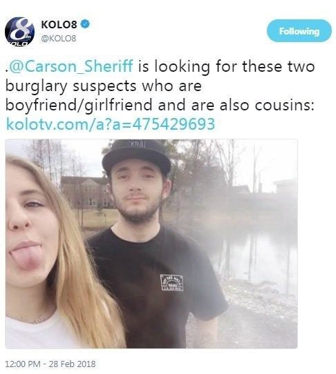 Text - KOLO8 Following @KOLO8 @Carson_Sheriff is looking for these two burglary suspects who are boyfriend/girlfriend and are also cousins: kolotv.com/a?a=475429693 12:00 PM 28 Feb 2018