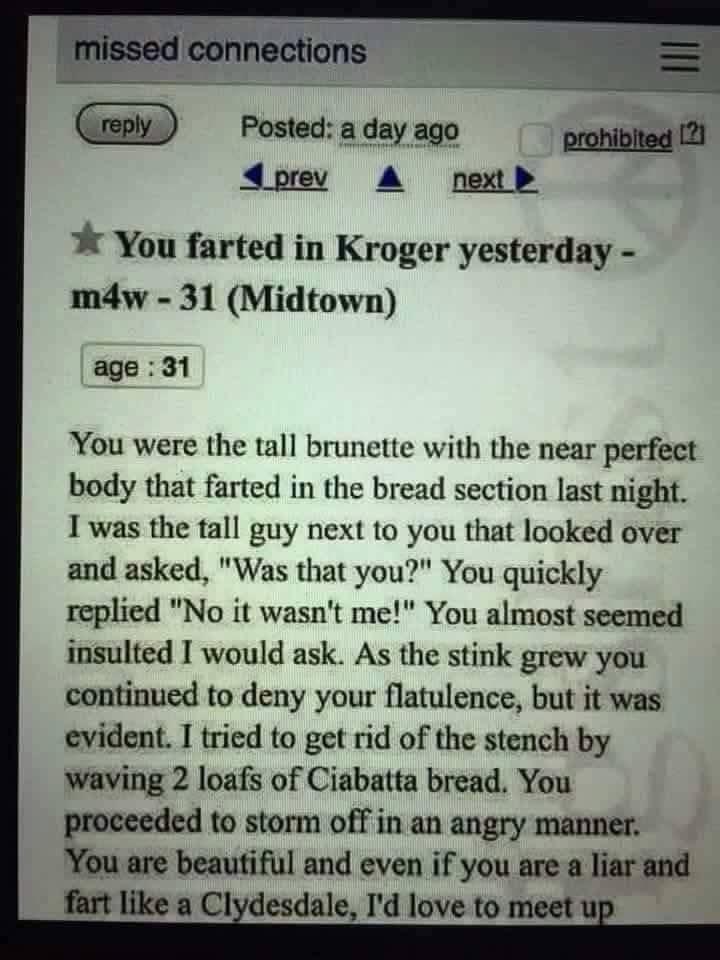 Funny craigslist ad.