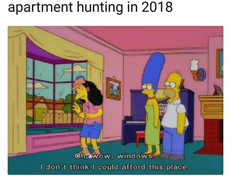 Funny meme about apartment hunting.