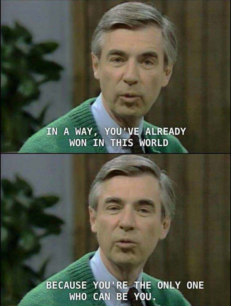 happy meme with inspirational words from Mister Rogers