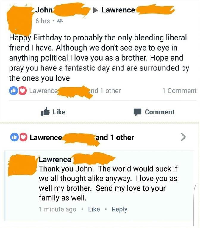 happy meme with Facebook comments by friends with different political views