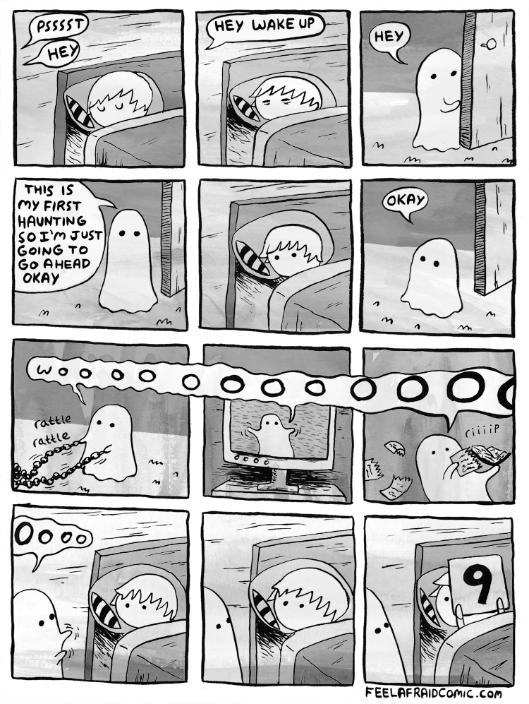 happy meme with a comic about a ghost's first attempt at haunting