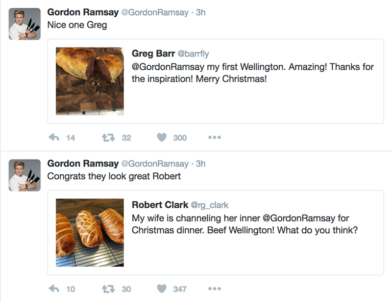 happy meme with nice tweets from chef Gordon Ramsay