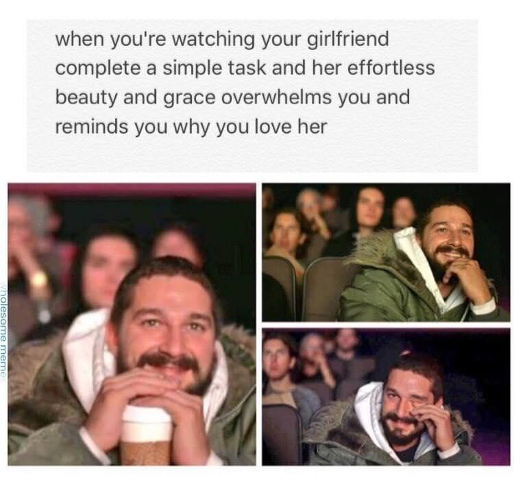happy meme about loving your significant other with pictures of Shia LaBeouf crying happily