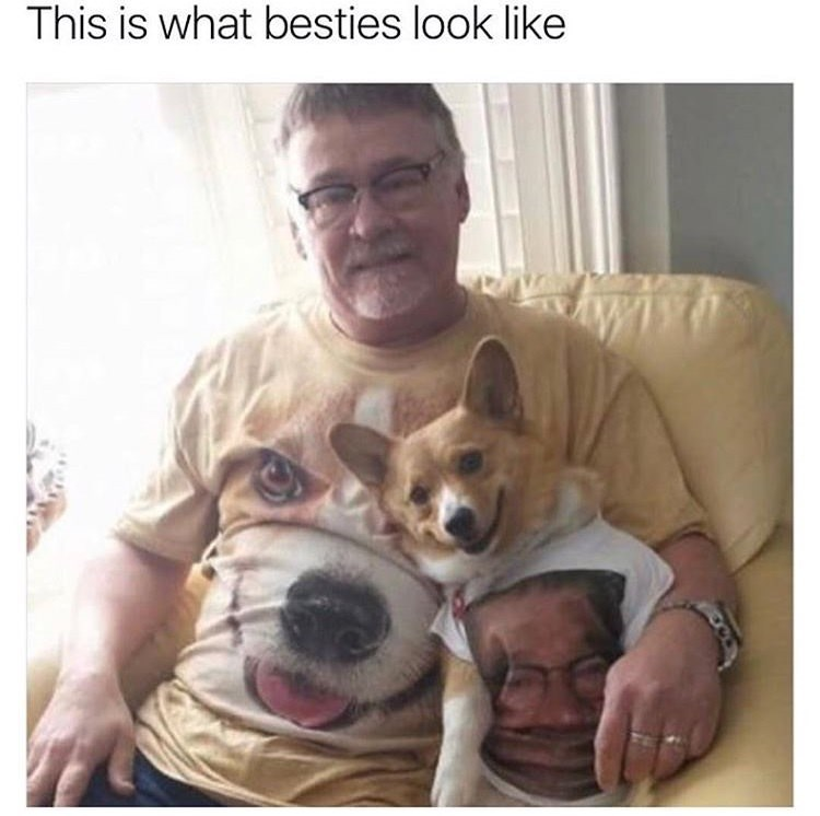 happy meme with picture of man and dog wearing shirts with each other's faces on them