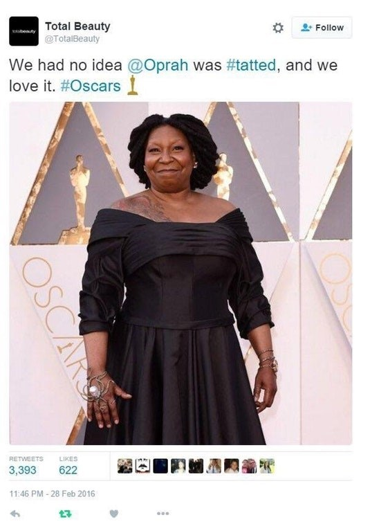 Clothing - Total Beauty Follow oobeauty @TotalBeauty We had no idea @Oprah was #tatted, and we love it. #Oscars 1 LIKES RETWEETS 622 3,393 11:46 PM -28 Feb 2016 OSCAN