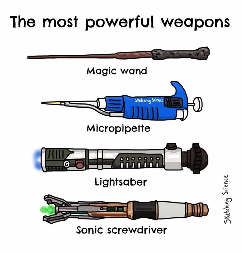 Line - The most powerful weapons Magic wand Sketcbing Science Micropipette Lightsaber Sonic screwdriver SKetching Science