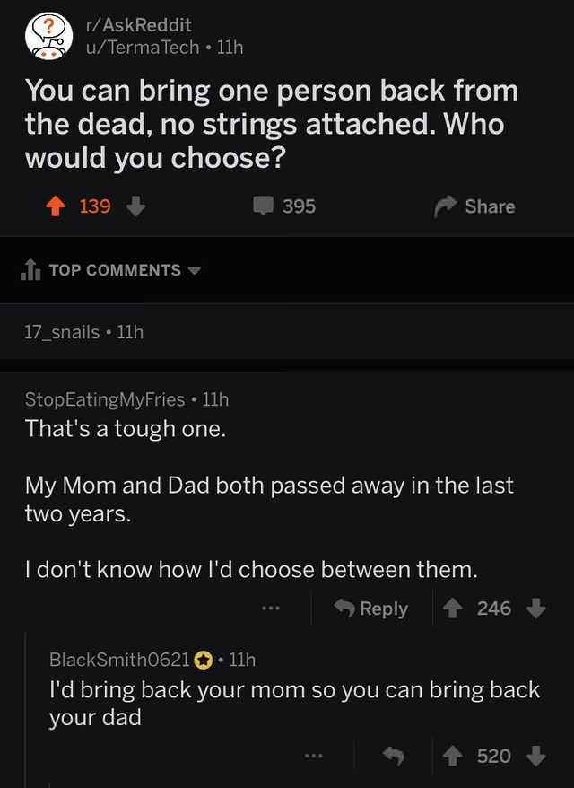 Text - r/AskReddit u/TermaTech 11h You can bring one person back from the dead, no strings attached. Who would you choose? 139 395 Share TOP COMMENTS 17_snails 11h StopEatingMyFries 11h That's a tough one. My Mom and Dad both passed away in the last two years. I don't know how I'd choose between them. Reply 246 BlackSmith0621 11h I'd bring back your mom so you can bring back your dad 520