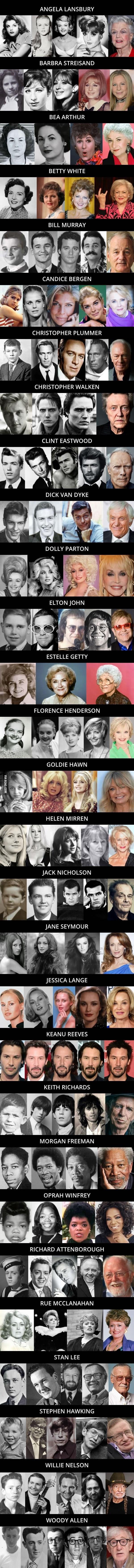 lista de fotos de gente famosa y su paso por el tiempo