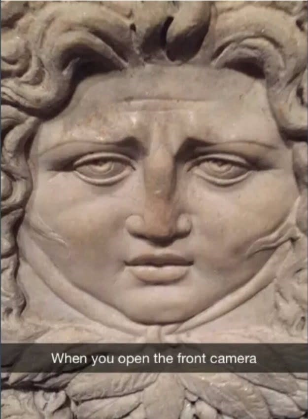 Stone carving - When you open the front camera