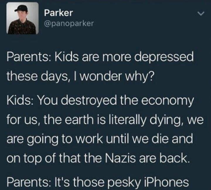 Funny meme about iphones and millennials.