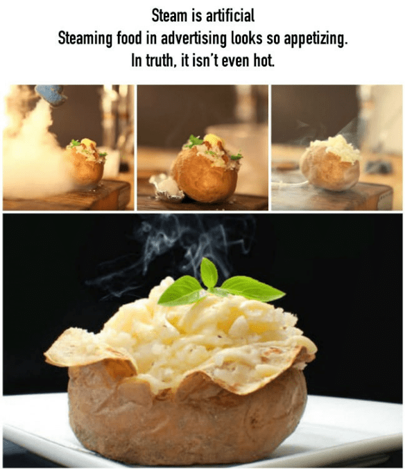 Dish - Steam is artificial Steaming food in advertising looks so appetizing. In truth, it isn't even hot