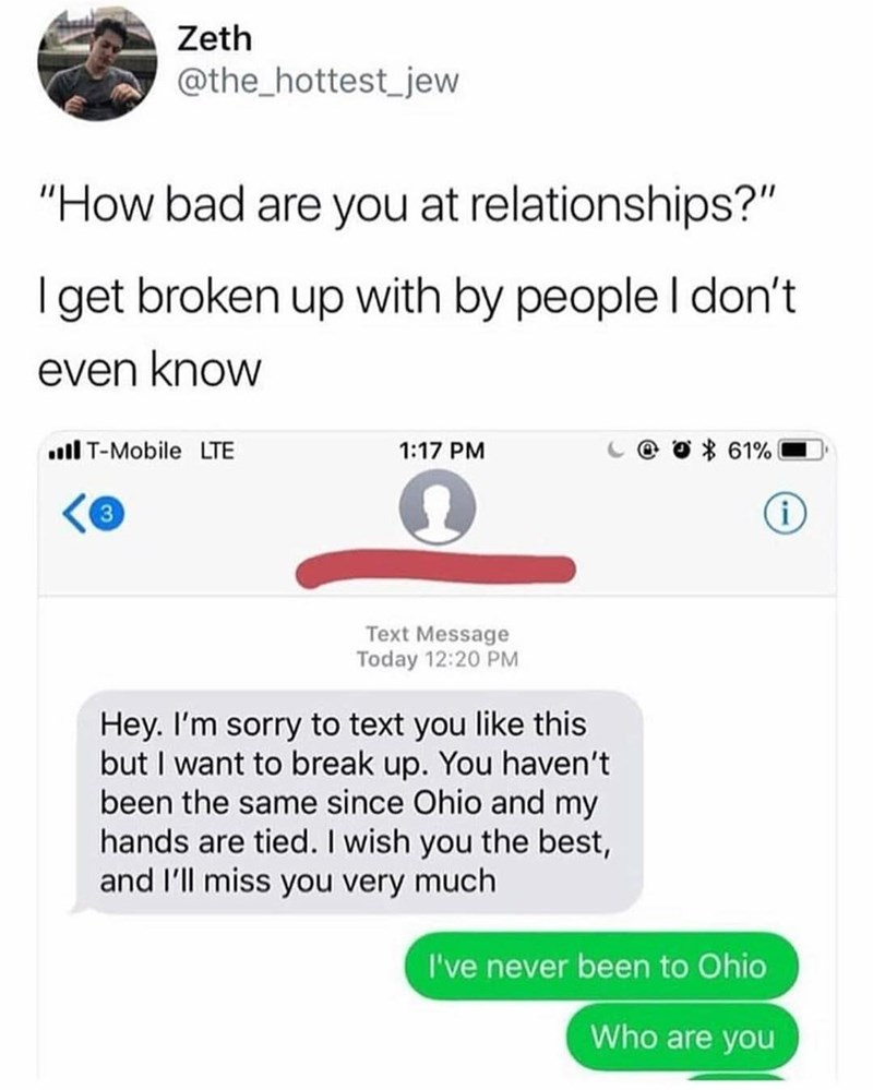 Funny meme about being bad at dating.