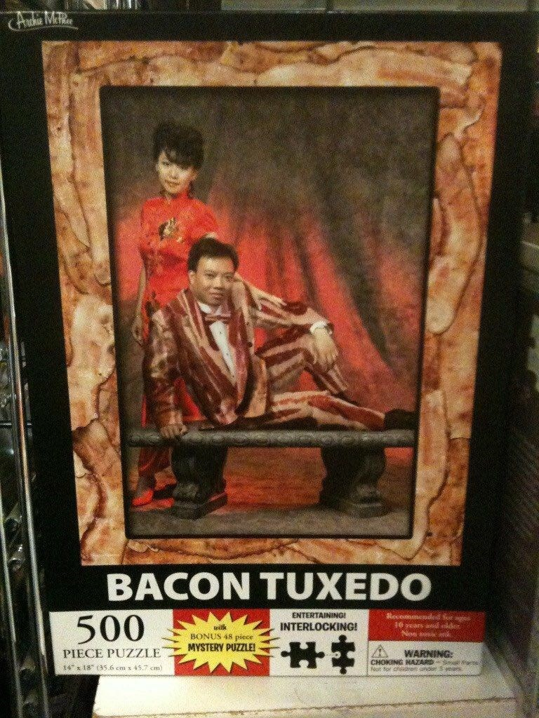 """dank - Poster - BACON TUXEDO ENTERTAINING! Recomnendd or aes ars ae der 500 INTERLOCKING! BONUS 48 piece MYSTERY PUZZLE! PIECE PUZZLE WARNING: CHOKING HAZARDS Pa Not for ofidtrem nd eas 14 18"""" (3s.6 cm x 45,7 cm)"""